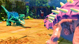 getlinkyoutube.com-LEGO Jurassic World Ankylosaurus vs Raptors Mini Boss Fight, Jurassic Park 3