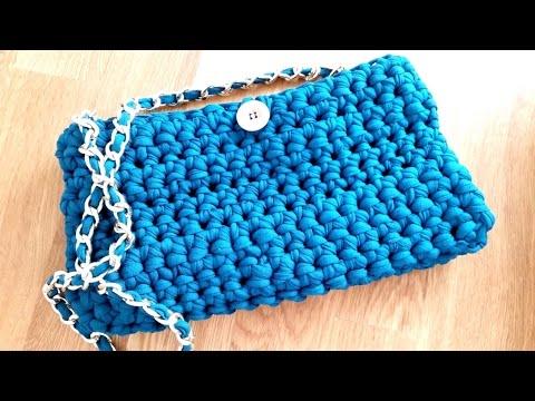 How to crochet a PURSE HANDBAG with t-shirt yarn ♥ CROCHET LOVERS