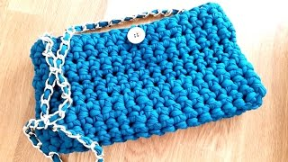 getlinkyoutube.com-How to crochet a PURSE HANDBAG with t-shirt yarn ♥ CROCHET LOVERS