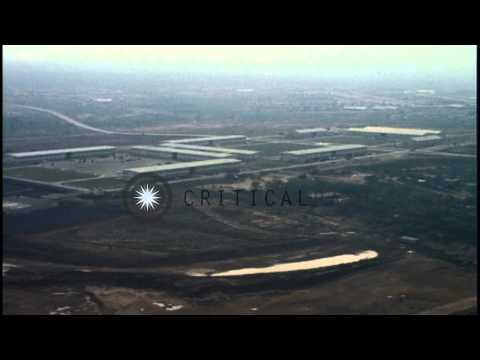 Aerial view of (USARV) United States Army Republic of Vietnam Headquarters Comple...HD Stock Footage