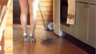 getlinkyoutube.com-Walking in silver high heels and mini skirt