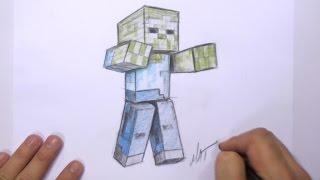 getlinkyoutube.com-How to Draw a 3D Minecraft Zombie   MAT