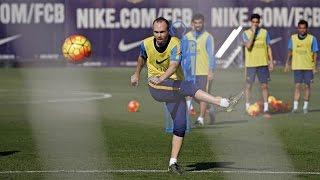 getlinkyoutube.com-FC Barcelona training session: Iniesta and Sergi Roberto receive all-clear