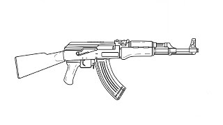 getlinkyoutube.com-How to Draw a Kalashnikov AK-47 / Как нарисовать Автомат Калашникова АК-47