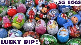 getlinkyoutube.com-Giant 55 Surprise Egg Peppa Pig Play Doh Cars Thomas and Friends Huevos Sorpresa Toys Avengers