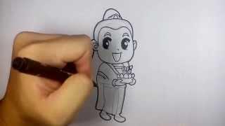 getlinkyoutube.com-ผู้หญิง ชุดไทย ถือกระทง ลอยกระทง วาดการ์ตูน กันเถอะ สอนวาดรูป การ์ตูน