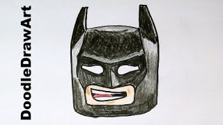 getlinkyoutube.com-Drawing: How To Draw Lego Batman Step by Step - for kids! The Lego Movie