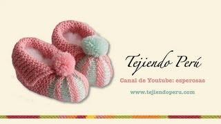 getlinkyoutube.com-Zapatitos con punta de dos colores en dos agujas