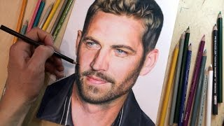 getlinkyoutube.com-Colored pencil drawing of Paul Walker. Time-lapse video