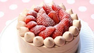 getlinkyoutube.com-【スイーツレシピ】苺チョコショートケーキStrawberry chocolate shortcake