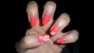 getlinkyoutube.com-Tutorial nail art semplice fiori bianchi su unghie corallo-Simple white flowers on coral nails