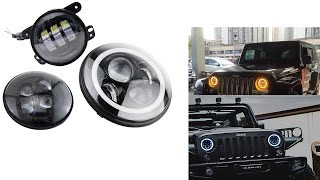 getlinkyoutube.com-iJDMTOY JEEP LED Headlights / Foglights Assembly Collection