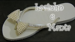 getlinkyoutube.com-Chinelo decorado - laço e manta de strass para principiantes
