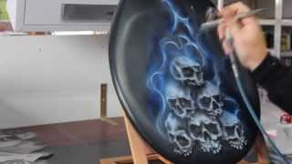 getlinkyoutube.com-Airbrush Videotutorial Skulls & Candyblue Flames - Schablone für Schädel Totenköpfe
