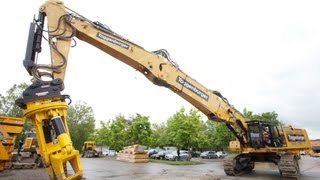 getlinkyoutube.com-Caterpillar DEM 100 mit Erdbauausleger und Zwischenstück / Cat DEM100 with short boom and extension