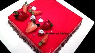 getlinkyoutube.com-gâteau fraise au glaçage miroir- حلوى عيد ميلاد بموس الفراولة والكلاصاج اللامع راقية والمذاق رووعة