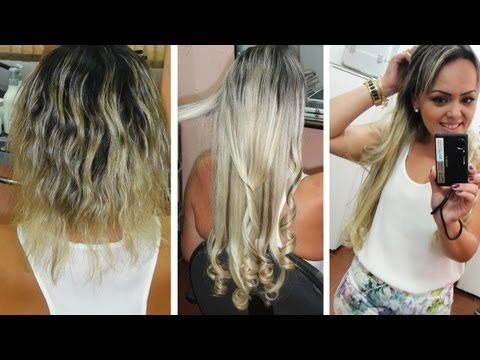 Mega Hair de Cabelo Cacheado Loiro por Andreza Goulart