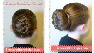getlinkyoutube.com-Braided Bubble Bun Tutorial, Dance Hairstyles