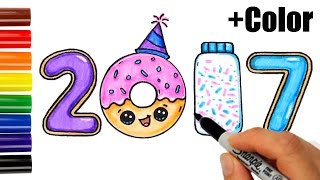 getlinkyoutube.com-How to Draw + Color 2017 as Cookies, Donut, Sprinkles - Happy New Year