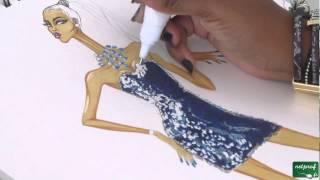 Dessin de mode robe à sequins sur figurine