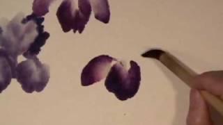 getlinkyoutube.com-Iris & Rock part 1 - Chinese Brush Painting by Virginia Lloyd-Davies