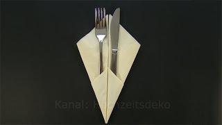 getlinkyoutube.com-Bestecktasche falten - Servietten falten einfach - Tischdeko Ostern, Hochzeit basteln