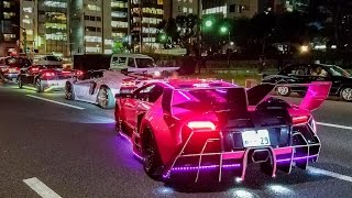 getlinkyoutube.com-Crazy & Colorful Lamborghini Halloween Run in Tokyo