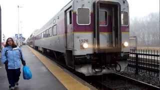 getlinkyoutube.com-MBTA Commuter Rail trains at Framingham, MA