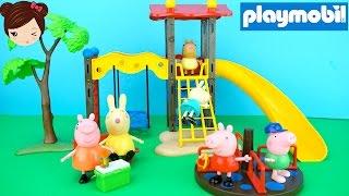 getlinkyoutube.com-Peppa pig y sus Amigos en el Parque de Juegos Playmobil - Juguetes de Peppa Pig