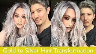 getlinkyoutube.com-Gold to Silver Hair Transformation