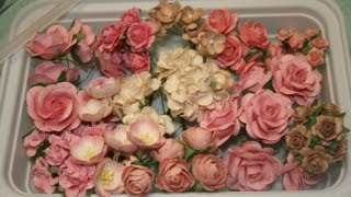getlinkyoutube.com-New Shabby chic handmade mulberry  roses and flowers for your scrapbooks