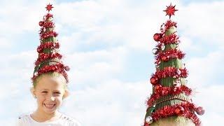 getlinkyoutube.com-Crazy Hair Day // Christmas tree head // Funny Hair