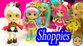 getlinkyoutube.com-Shopkins Shoppies Rainbow Kate & Sara Sushi Dolls with Season 5 Exclusives and App Card