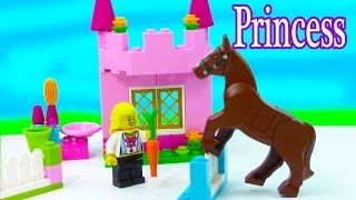getlinkyoutube.com-LEGO Princess Girl Rider Pink Castle Horse Stable Care Jumps Playset Bricks & More My First Set