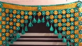 DIY   How To Make Toran For Door Hangings At Home || Woolen Flowers Toran