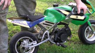 getlinkyoutube.com-47 CC 2-Stroke Cagllari Pocket Bike Cold / Old Start