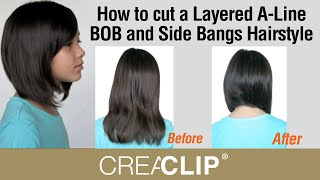 getlinkyoutube.com-How to cut a Layered A-Line BOB and Side Bangs Hairstyle