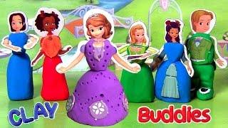 getlinkyoutube.com-6 Clay Buddies SURPRISE Sofia the First Blind Bags Princess Amber, Prince James, Jade DIY Play Doh