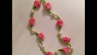 getlinkyoutube.com-How to crochet beautiful necklace with flowers and pearls