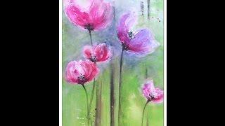 getlinkyoutube.com-Painting flowers ,Tutorial..Blumen malen, Struktur mit Facettenlack