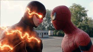 getlinkyoutube.com-Spider-man: Homecoming  Spider-man vs The Flash FIGHT SCENE | Marvel vs DC 2017 Civil War