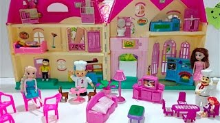 getlinkyoutube.com-لعبة بيت العائلة المتنقل غرفة نوم ومعيشة ومطبخ بيت كامل Play House Set Doll House Toy