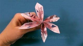 getlinkyoutube.com-Geldgeschenke basteln: Geld falten - Blume & Fächer