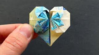 getlinkyoutube.com-Geldschein falten Herz - Geldgeschenke basteln Hochzeit -  ❤️ Geld falten - Origami