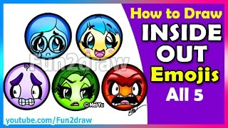 getlinkyoutube.com-AMAZING! How to Draw Inside Out Joy Sadness Anger Fear Disgust Emojis - Fun2draw