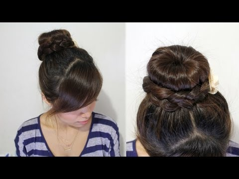 Braided Hair Bun Updo Hairstyle for Long Hair Tutorial