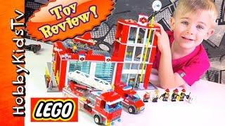 getlinkyoutube.com-Lego Fire Station Toy Review [60004] Firetruck Helicopter By HobbyKidsTV