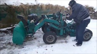 "getlinkyoutube.com-My friend´s homemade tractor with a ""homemade"" snowblower"