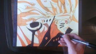 getlinkyoutube.com-[Naruto] How to draw Naruto sage bijuu mode / Comment dessiner Naruto Kyuubi chakra ermite mode