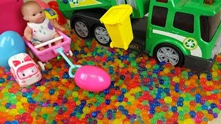 getlinkyoutube.com-Baby doll and Dirt cart Surprise eggs color candy Kinder Joy toys
